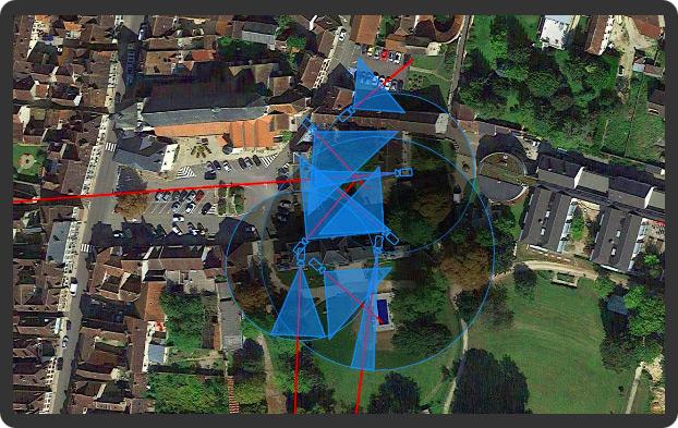 Etude implantation vue Google Earth caméras vidéosurveillance Paris / Yonnne