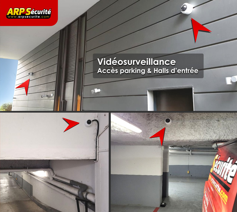 Caméras vidéosurveillance copropriété: accès parking, halls d'entrée.
